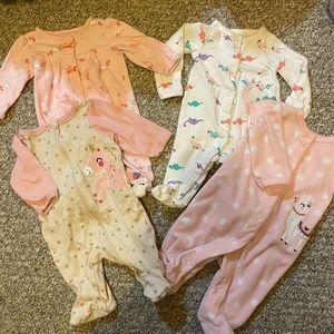 4 Piece Newborn Baby Girl Jammies 🦄